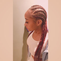 Red long feed-in cornrows.